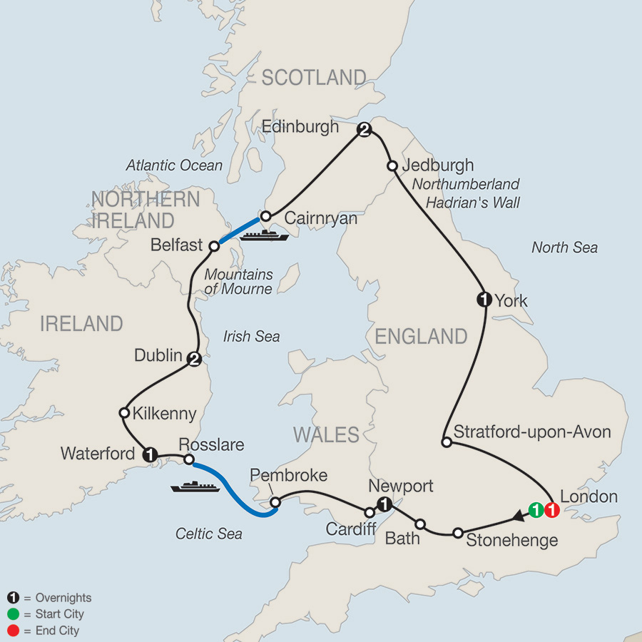 Itinerary map of Essential Britain & Ireland 2019 from London to London