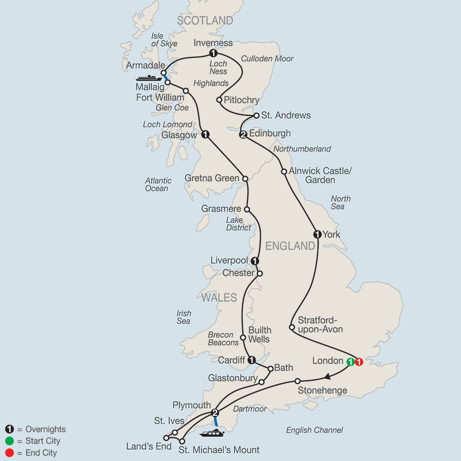 Itinerary map of Essential Britain 2019 from London to London