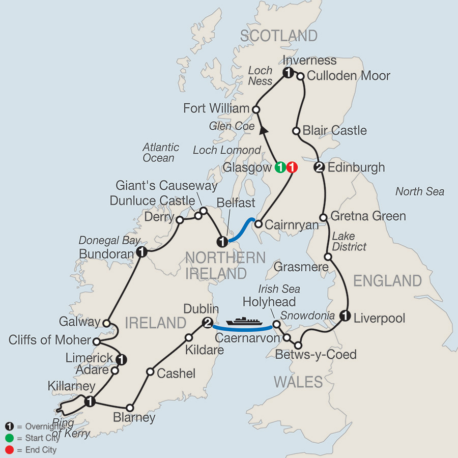 Itinerary map of Celtic Highlights 2019 from Glasgow to Glasgow