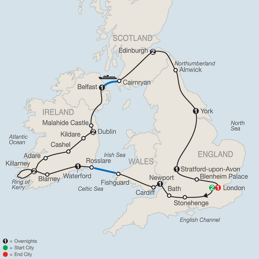 Itinerary map of Highlights of Britain & Ireland 2019 from London to London