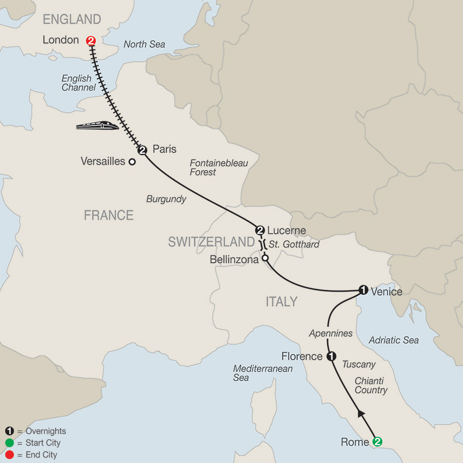 Itinerary map of Essential Europe 2019 from Rome to London