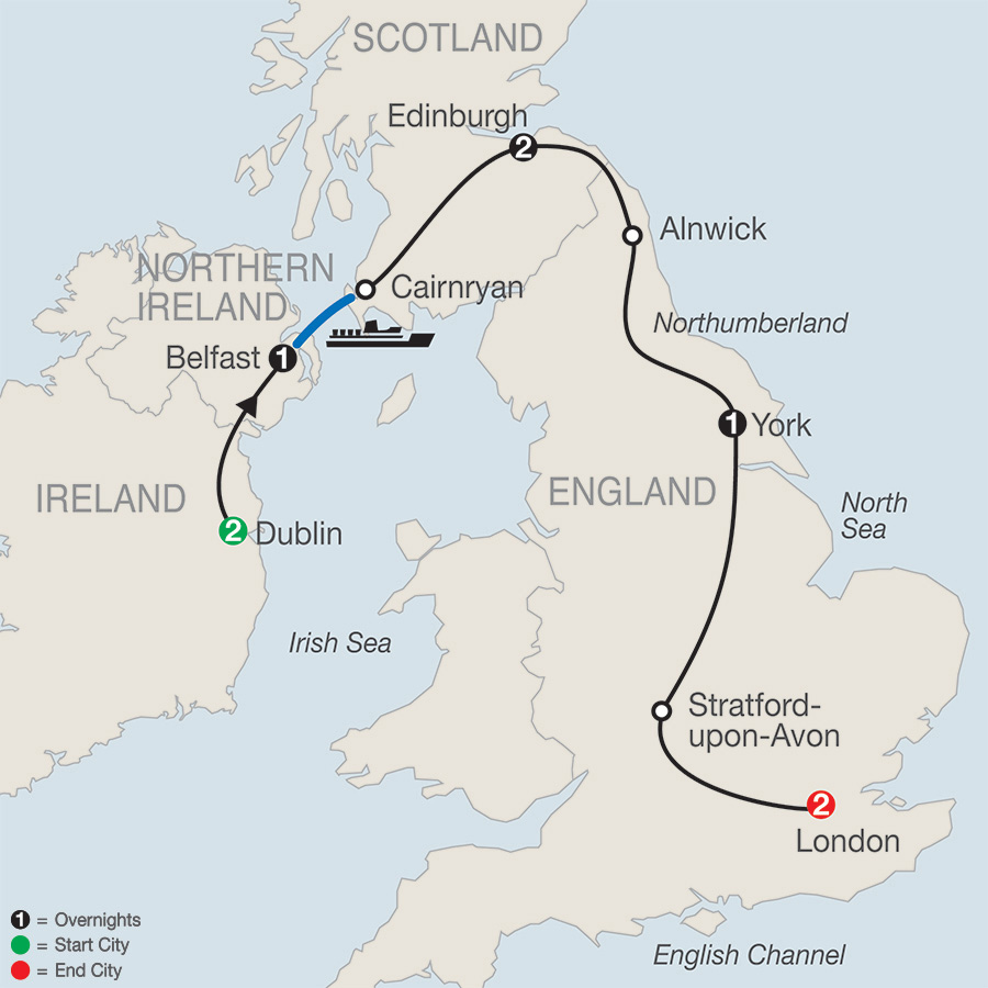Itinerary map of Ireland & Britain Escape 2019 from Dublin to London