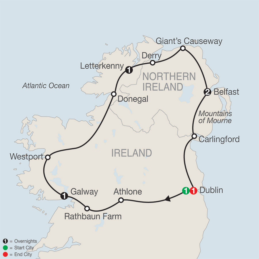 Itinerary map of North of Ireland Escape 2019 from Dublin to Dublin
