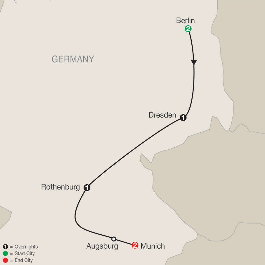 Itinerary map of German Escape 2019 from Berlin to Munich