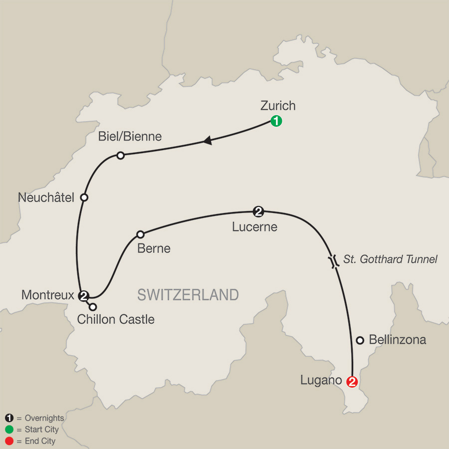 Itinerary map of Swiss Escape 2019 from Zurich to Lugano