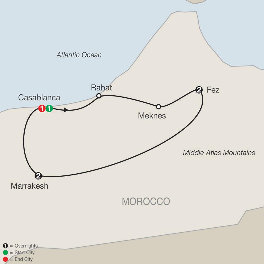 Itinerary map of Moroccan Escape 2019 from Casablanca to Casablanca