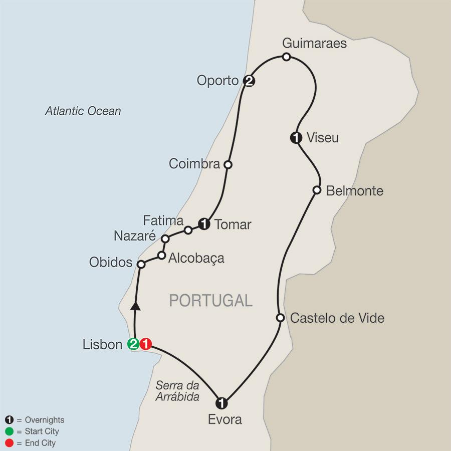 Itinerary map of Portuguese Escape 2019 Lisbon to Lisbon
