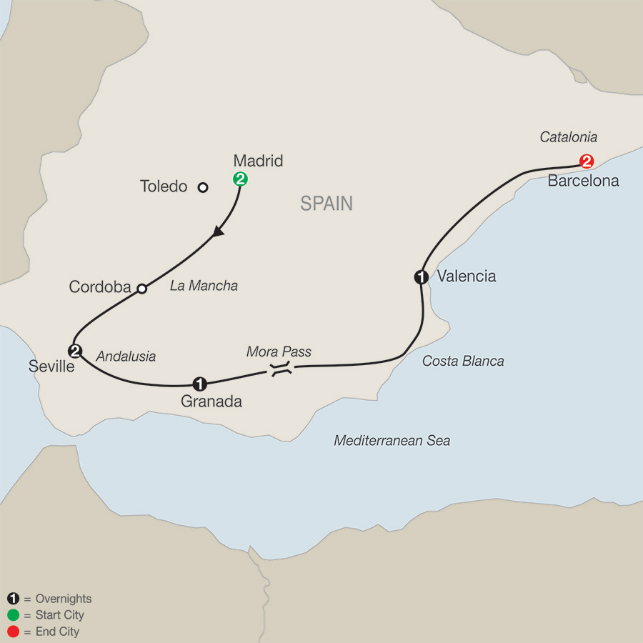 Itinerary map of Spanish Escape 2019 from Madrid to Barcelona