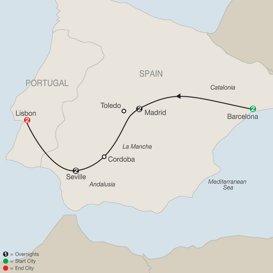 Itinerary map of Spain & Portugal Escape 2019 from Barcelona to Lisbon