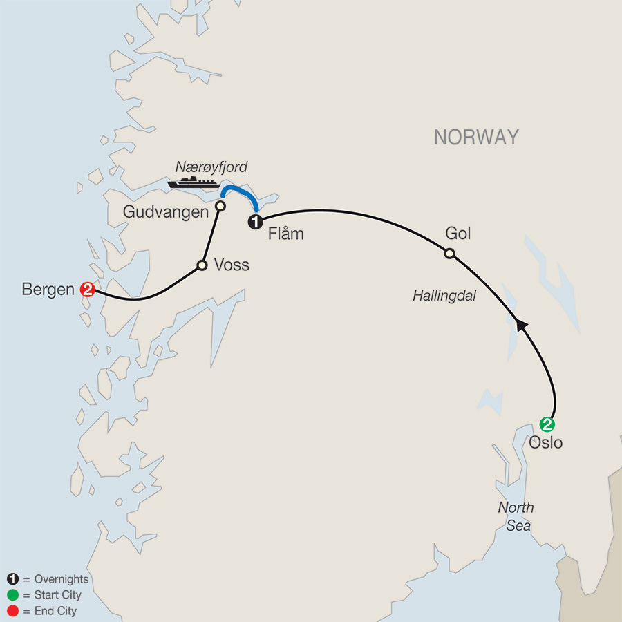 Itinerary map of Norwegian Fjords Escape 2019 from Oslo to Bergen