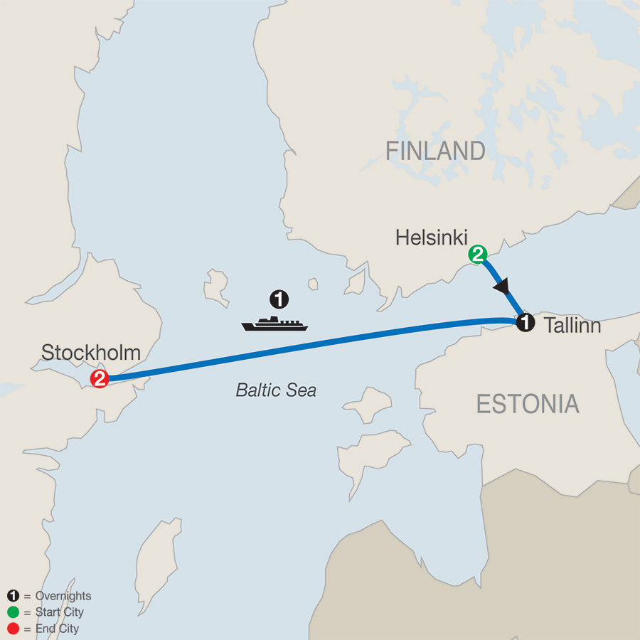 Itinerary map of Scandinavian Escape 2019 from Helsinki to Stockholm