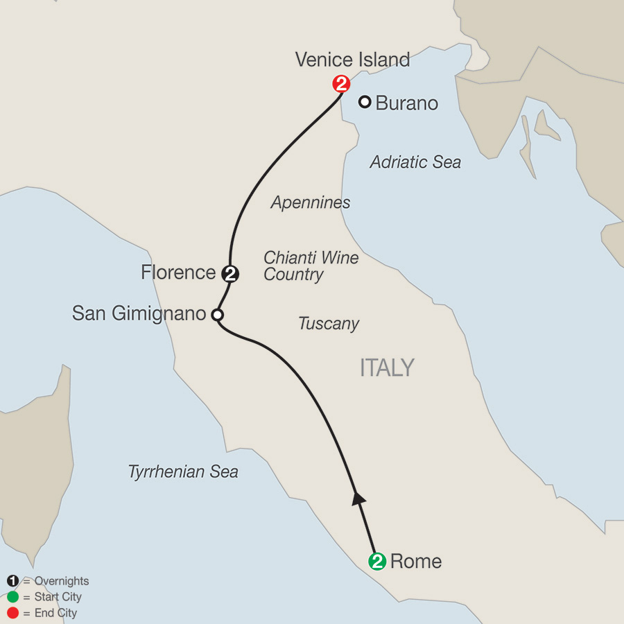 Itinerary map of A Taste of Italy 2019 from Rome to Venice