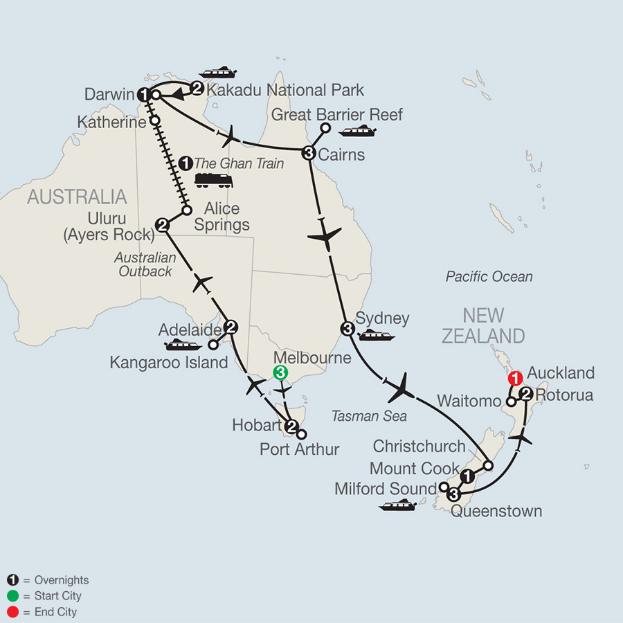 Itinerary map of Great Adventure Down Under 2019 from Melbourne to Auckland