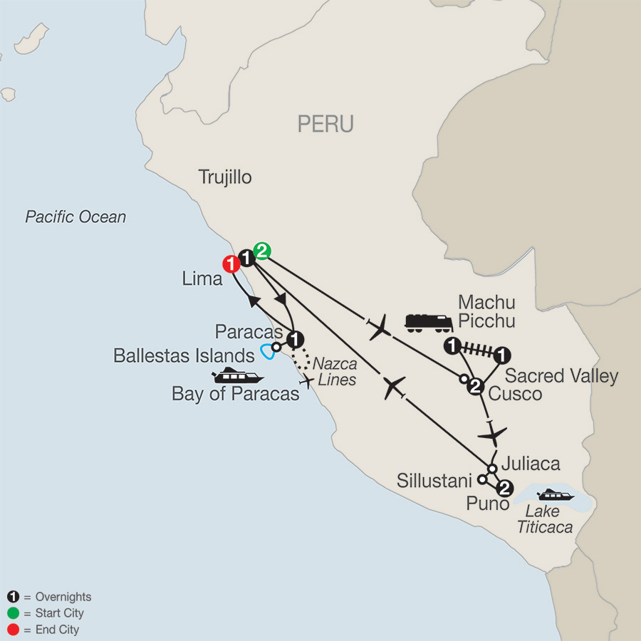 Itinerary map of Legacy of the Incas 2019 from Lima to Lima