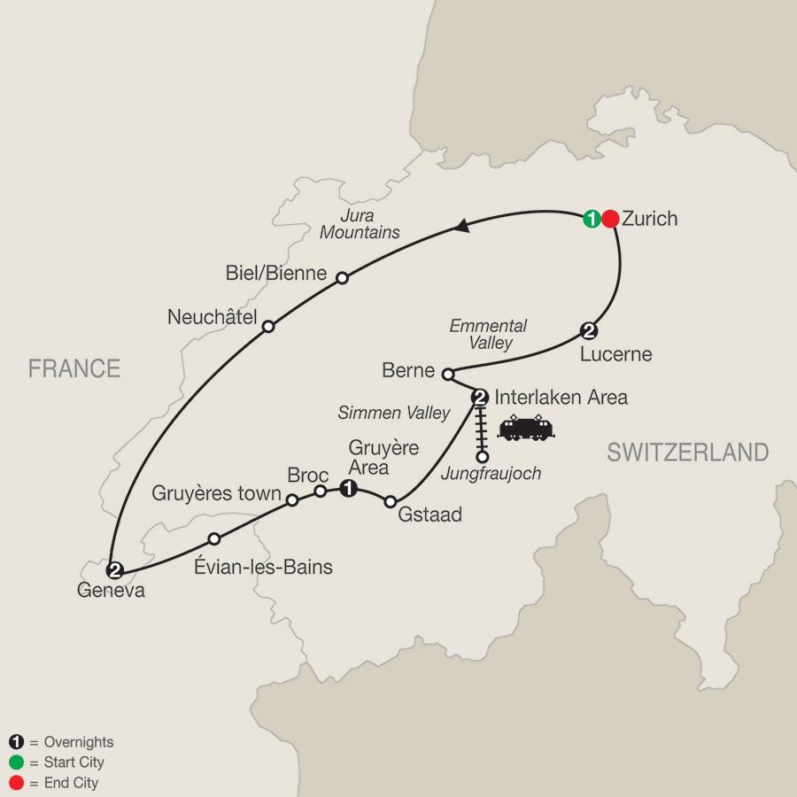 Itinerary map of Spectacular Switzerland 2019 from Zurich to Zurich