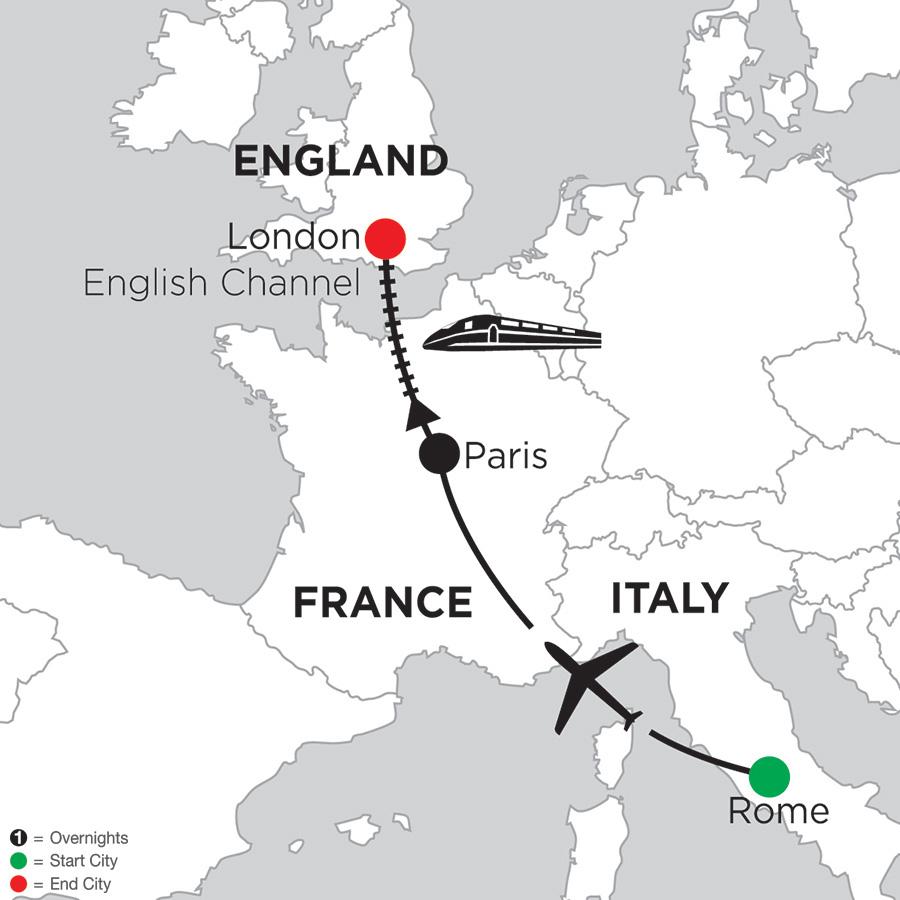 Itinerary map of 5 Nights Rome, 4 Nights Paris & 2 Nights London 2019