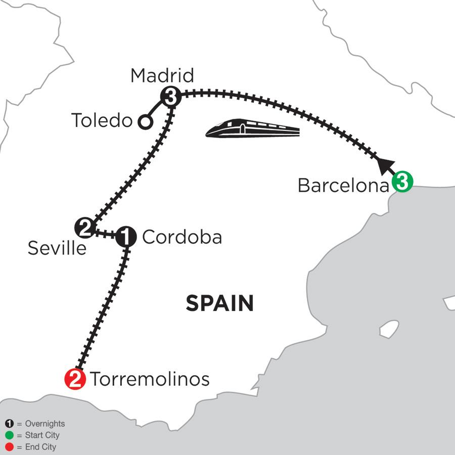 Itinerary map of 3 Nights Barcelona, 3 Nights Madrid with Toledo, 2 Nights Seville, 1 Night Cordoba & 2 Nights Torremolinos 2019