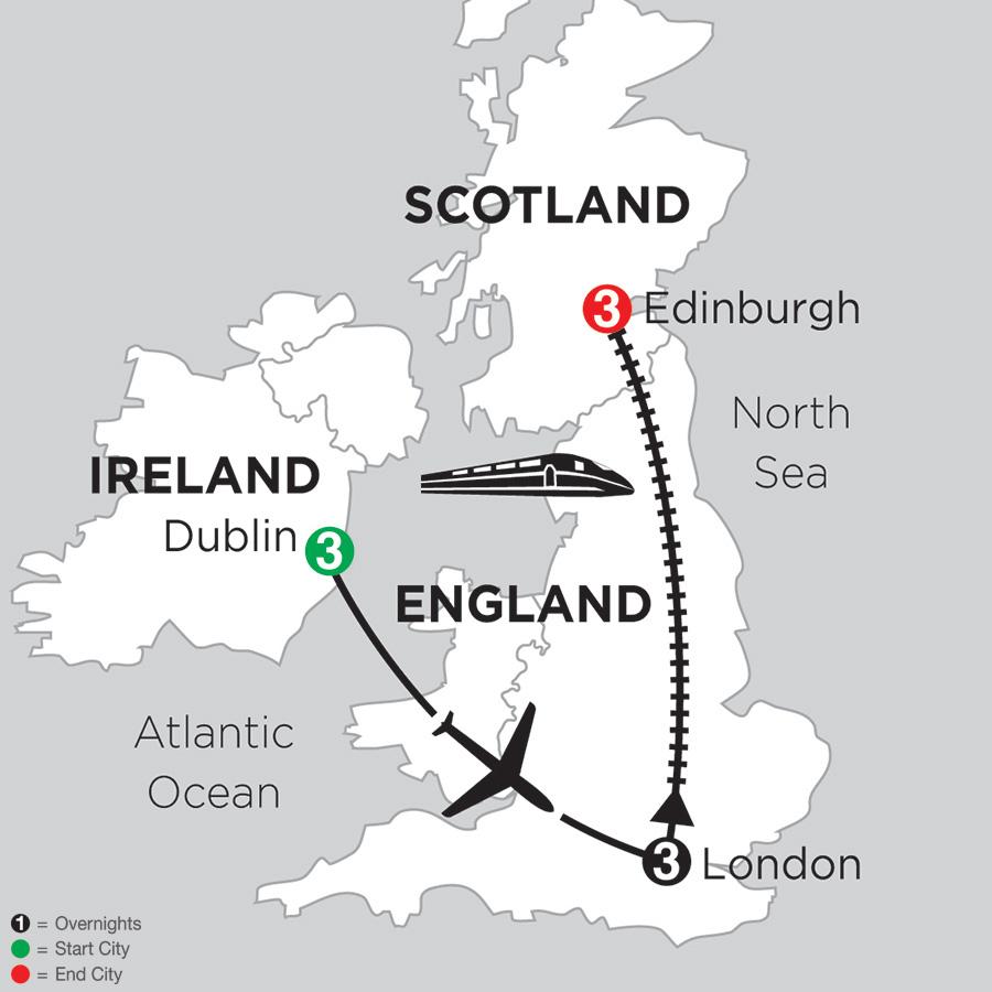 Itinerary map of 3 Nights Dublin, 3 Nights London & 3 Nights Edinburgh 2019