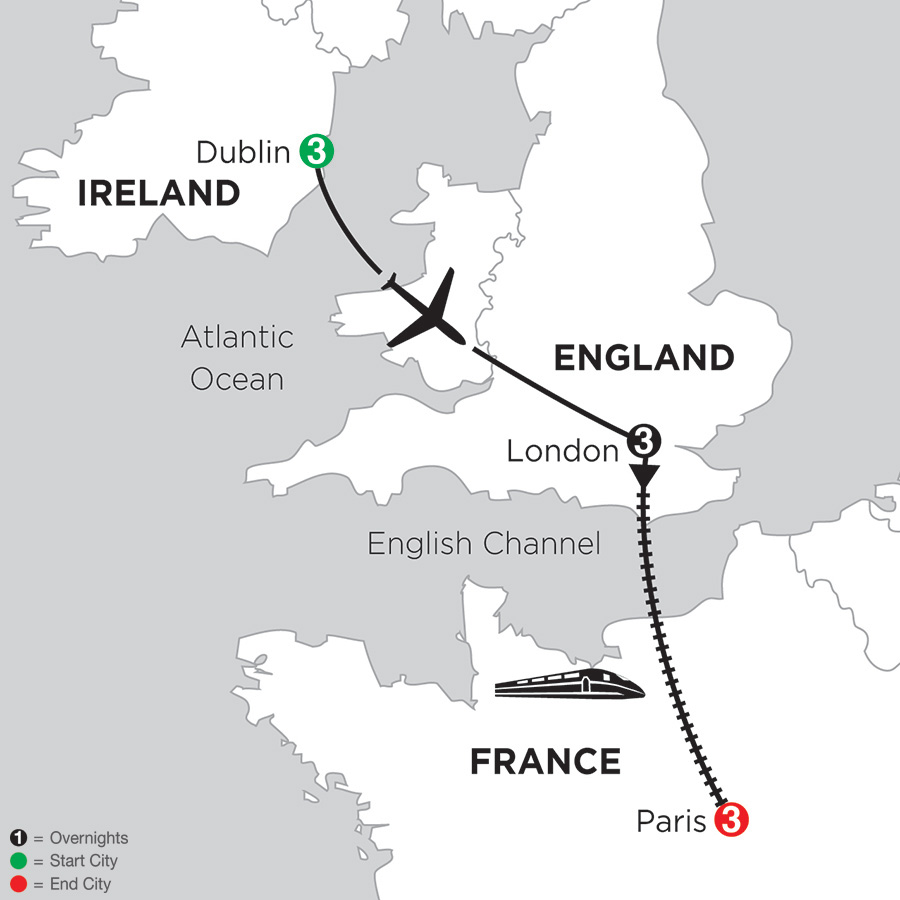 Map for 3 Nights Dublin, 3 Nights London & 3 Nights Paris 2019