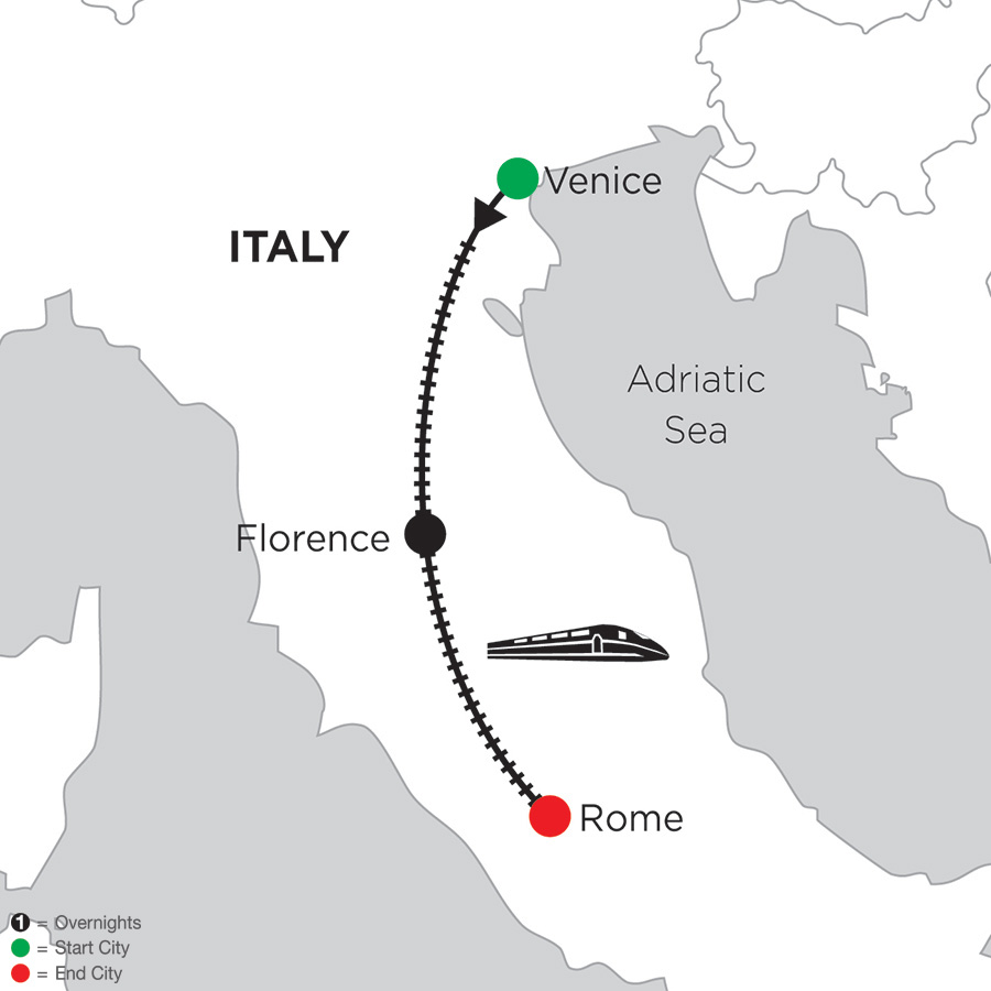 Itinerary map of 4 Nights Venice, 5 Nights Florence & 3 Nights Rome 2019