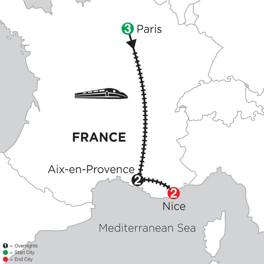 Map for 3 Nights Paris, 2 Nights Aix-en-Provence & 2 Nights Nice 2019