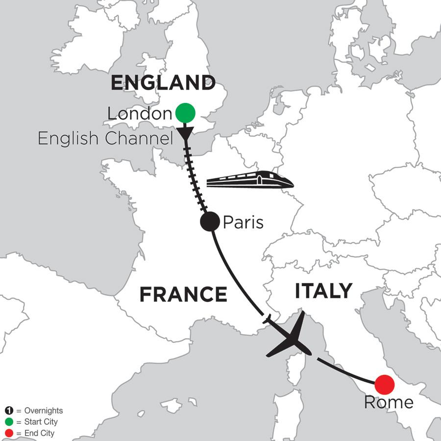 Itinerary map of 4 Nights London, 2 Nights Paris & 3 Nights Rome 2019