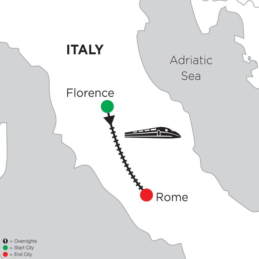Itinerary map of 2 Nights Florence & 4 Nights Rome 2019