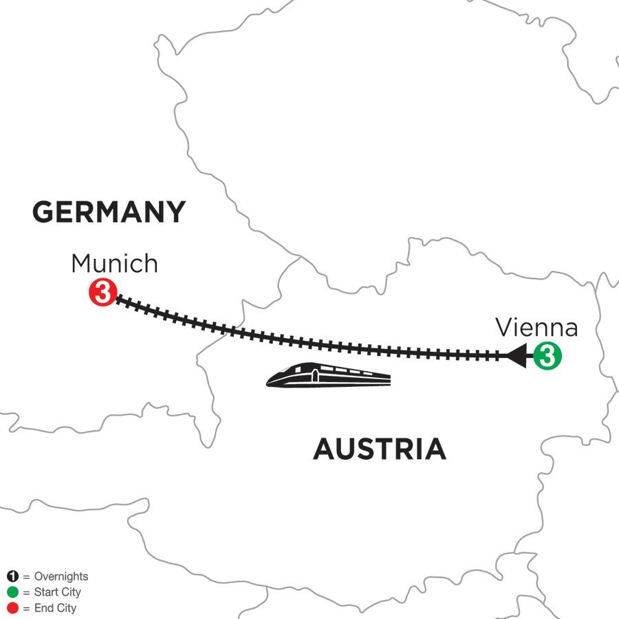 Itinerary map of 3 Nights Vienna & 3 Nights Munich 2019