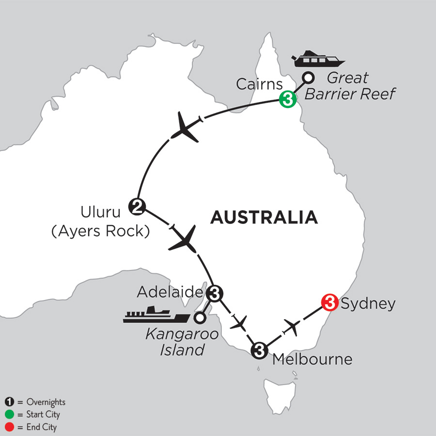 Itinerary map of Aussie Adventure 2019 - 15 days from Cairns to Sydney