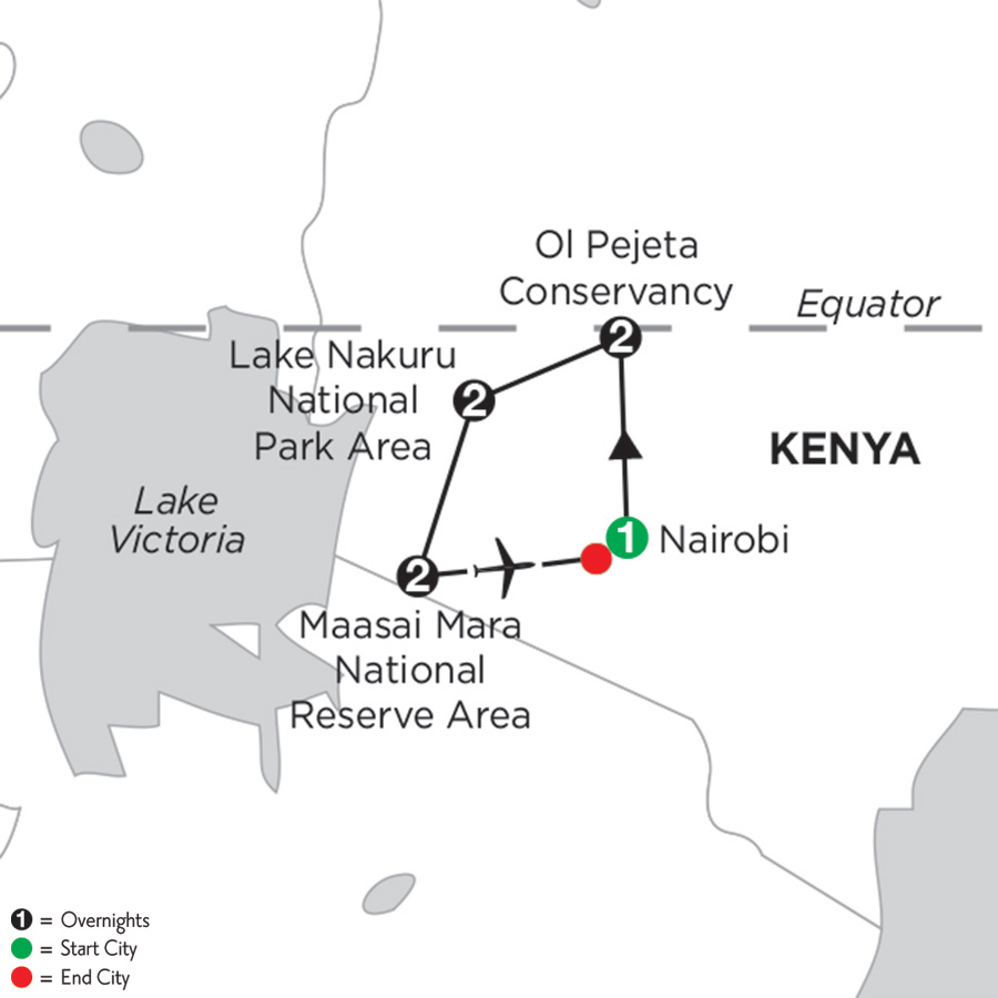 Itinerary map of Kenya Private Safari 2019 - 8 days from Nairobi to Nairobi
