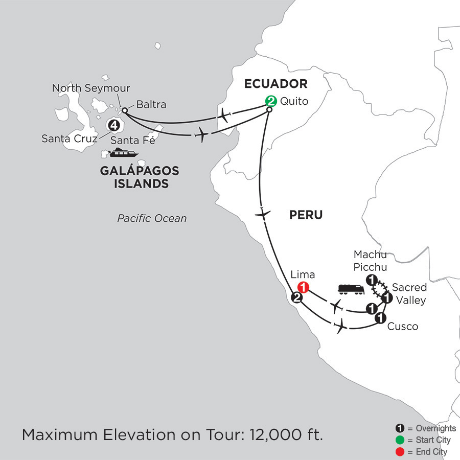 Map for Galápagos Highlights & Peru 2019 - 14 days from Quito to Lima