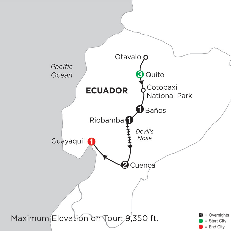 Itinerary map of Ecuador Discovery 2019 - 9 days from Quito to Guayaquil