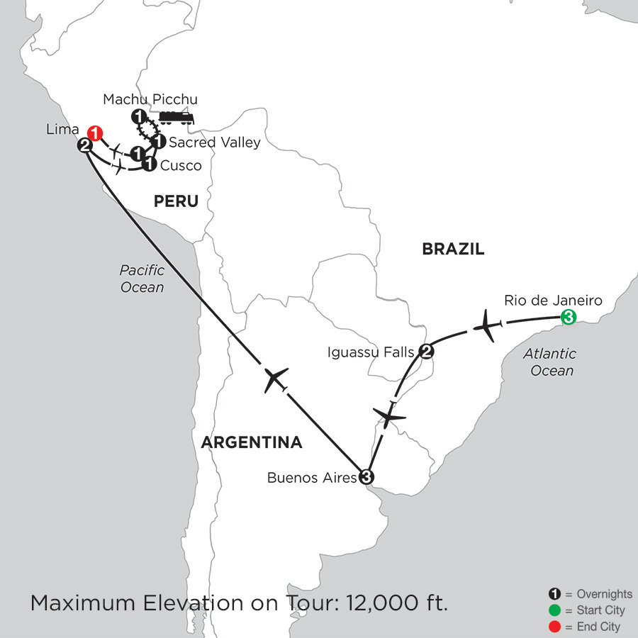 Itinerary map of Grand Tour of South America 2019 - 16 days from Rio de Janeiro to Lima