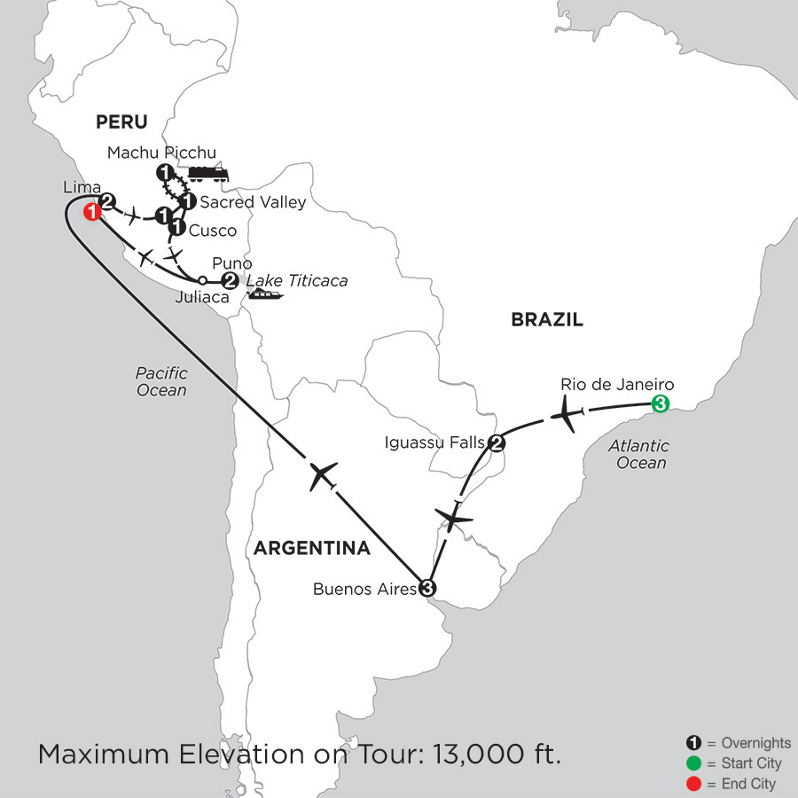 Itinerary map of Grand Tour of South America with Lake Titicaca 2019 - 18 days from Rio de Janeiro to Lima