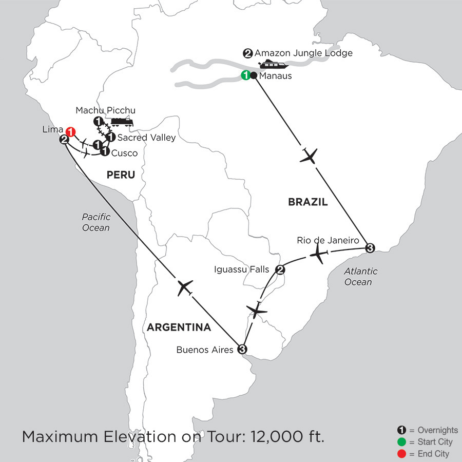 Map for Grand Tour of South America with Brazil's Amazon 2019 - 19 days from Manaus to Lima