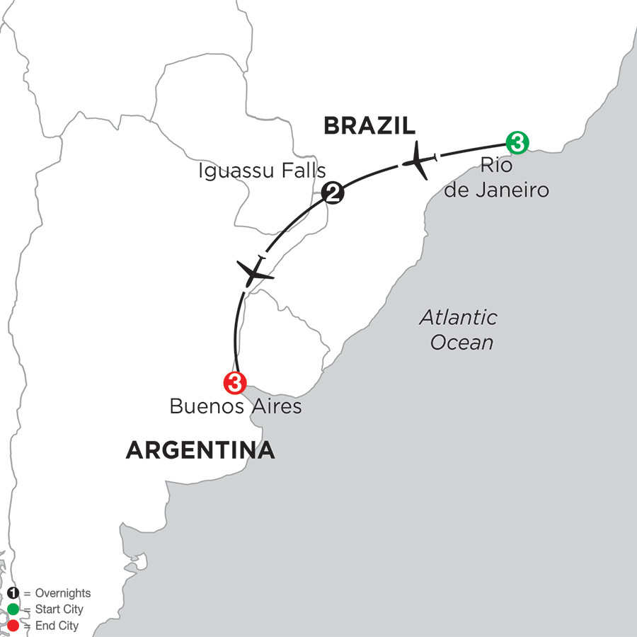 Map for South American Selection 2019 - 9 days from Rio de Janeiro to Buenos Aires