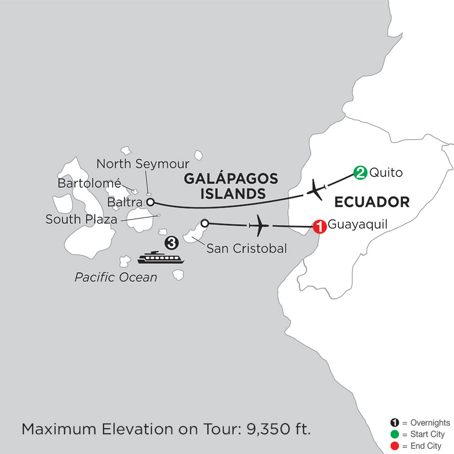 Itinerary map of Cruising the Galápagos on the Galápagos Legend 2019 - 7 days from Quito to Guayaquil