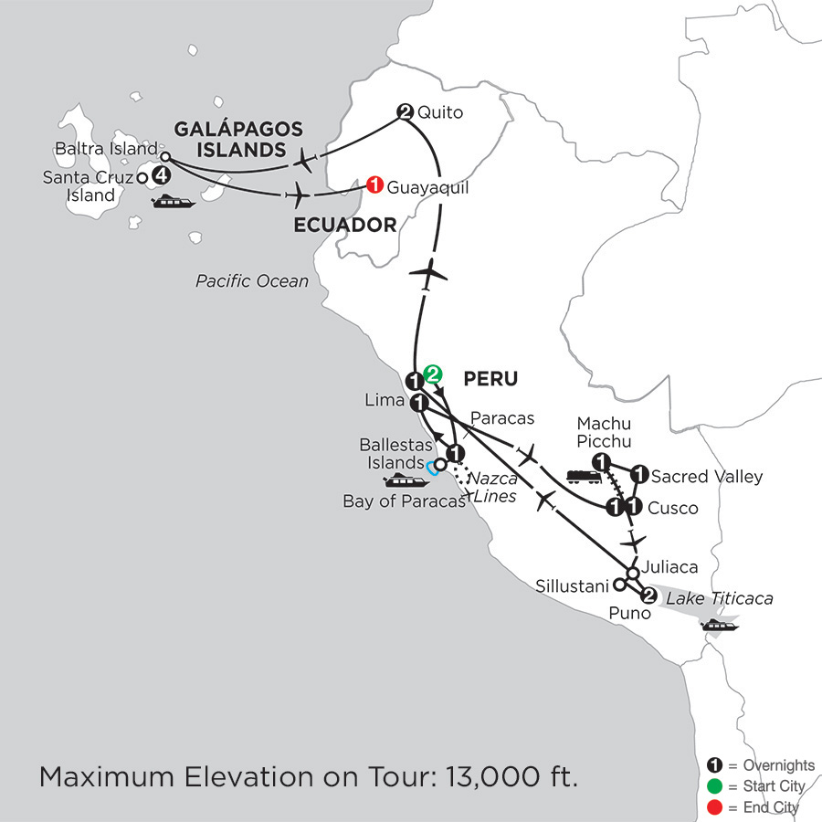 Itinerary map of Journey through the Andes with the Finch Bay in the Galápagos 2019 - 19 days from Lima to Guayaquil