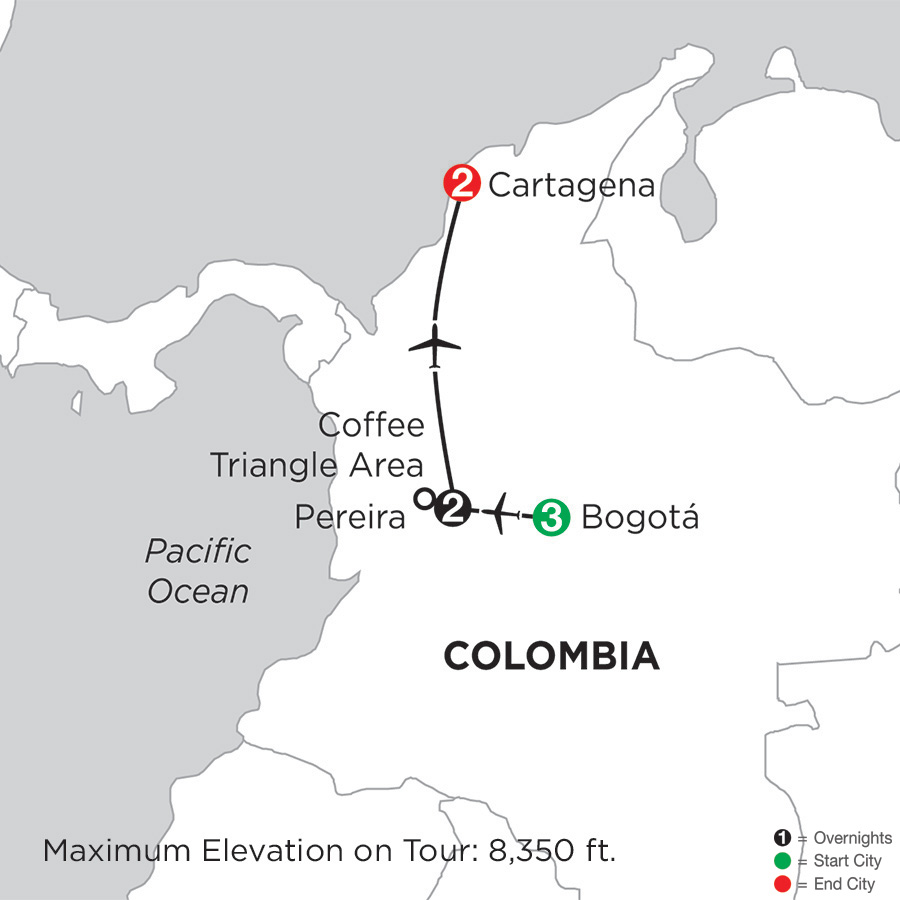 Itinerary map of Magical Colombia 2019 - 8 days from Bogotá to Cartagena