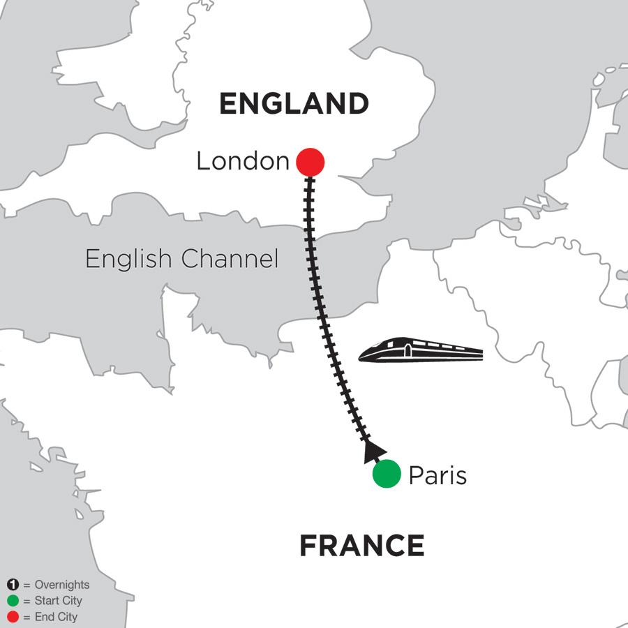 Itinerary map of 3 Nights Paris & 3 Nights London 2019