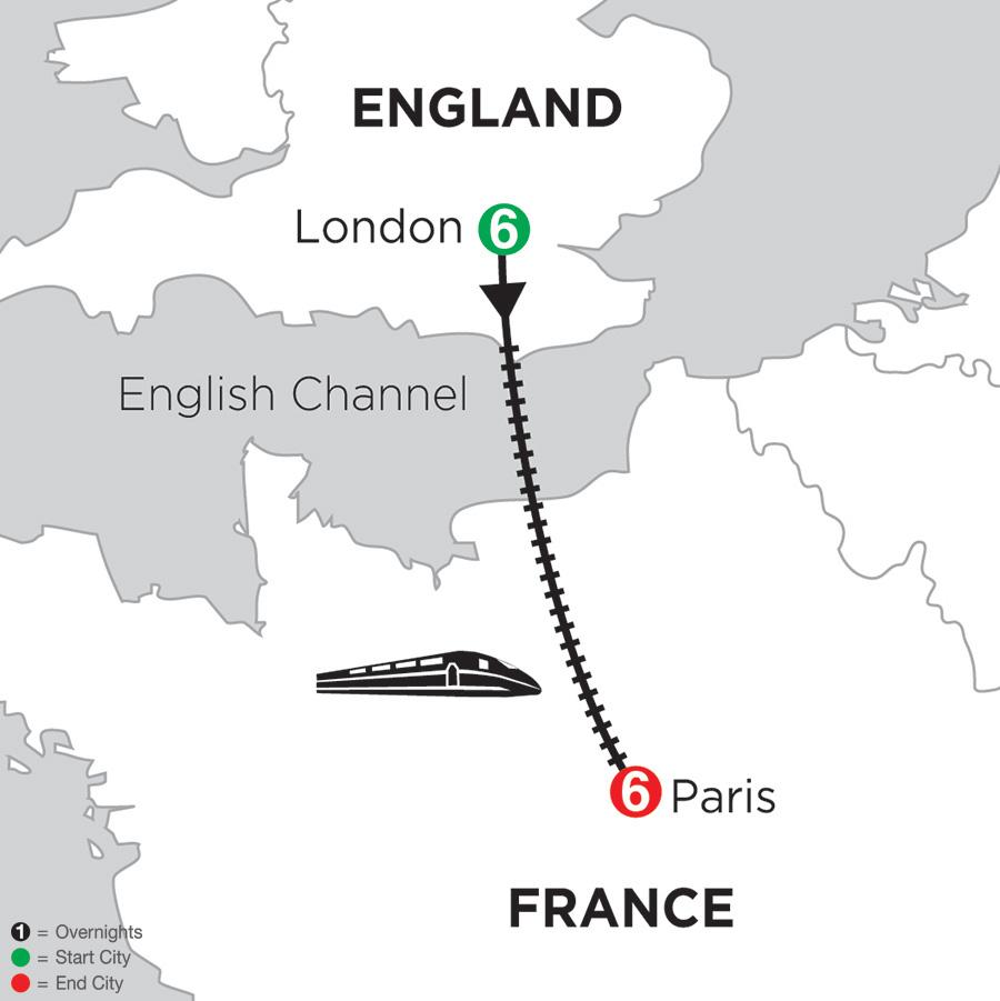 Itinerary map of 6 Nights London & 6 Nights Paris 2019
