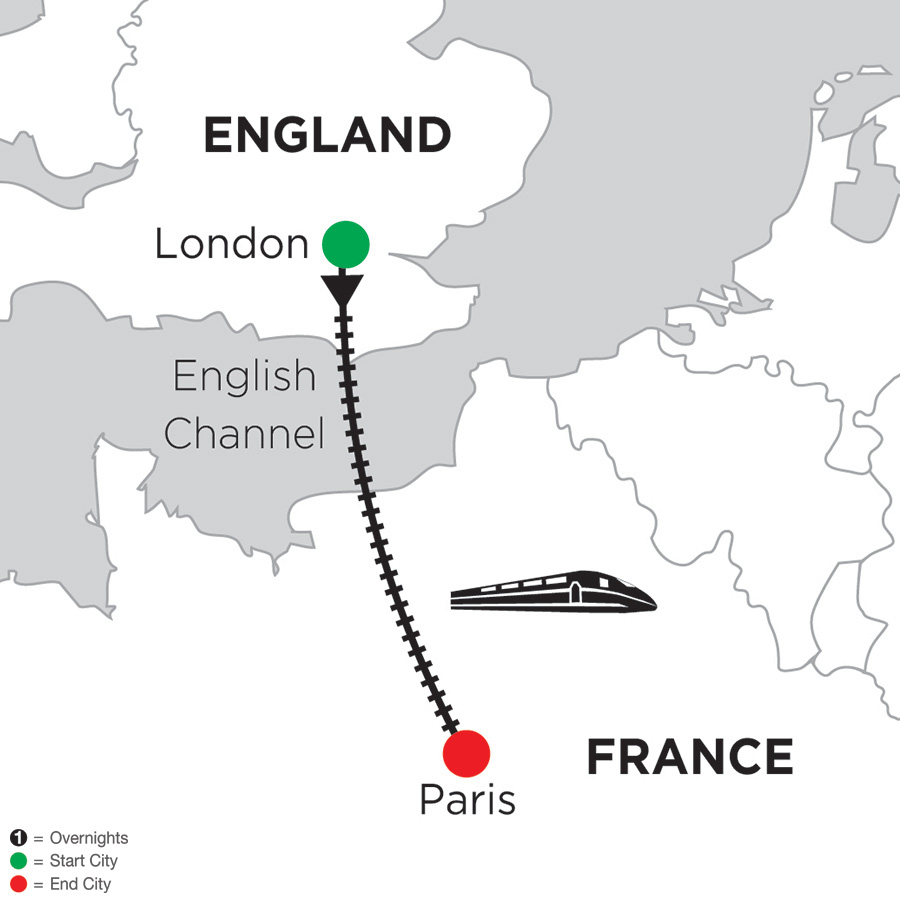 Itinerary map of 3 Nights London & 3 Nights Paris 2019