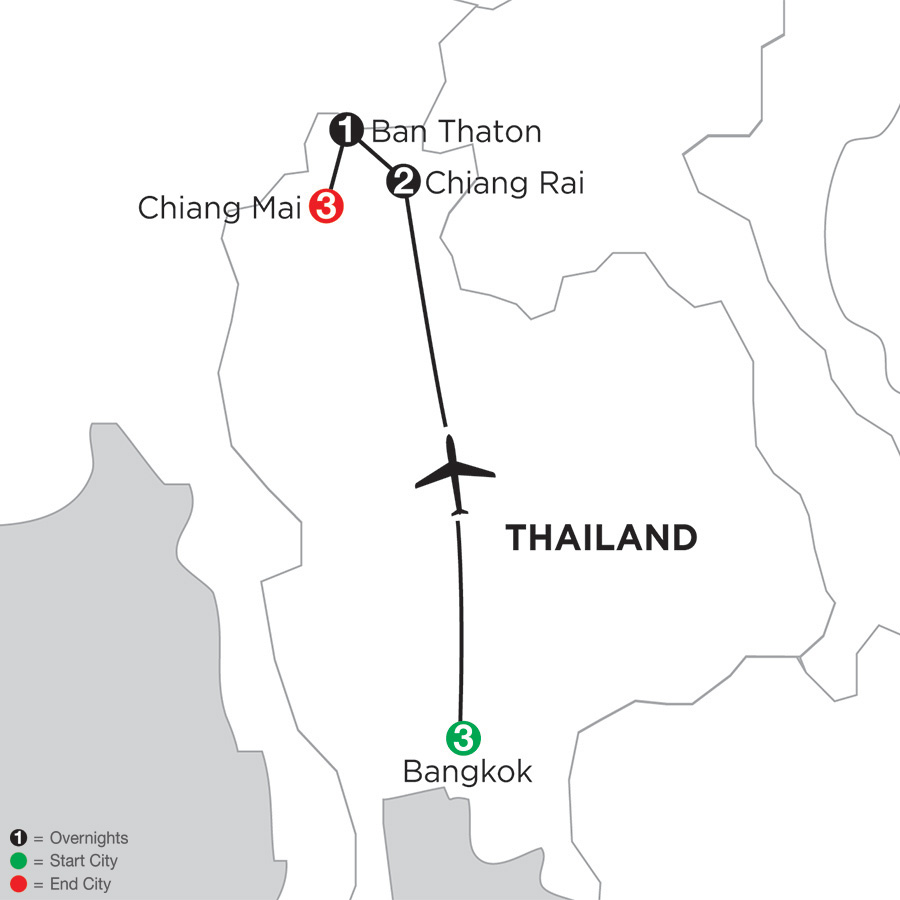 Itinerary map of Best of Thailand 2019 from Bangkok to Chiang Mai