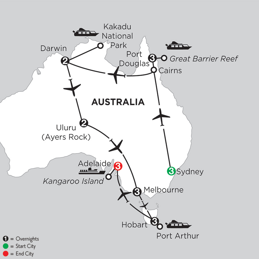 Itinerary map of Wonders of Australia with Hobart & Adelaide 2019 from Sydney to Adelaide