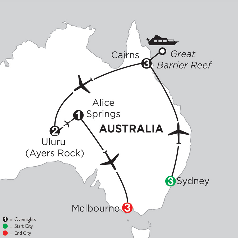 Itinerary map of Best of Australia 2019 from Sydney to Melbourne
