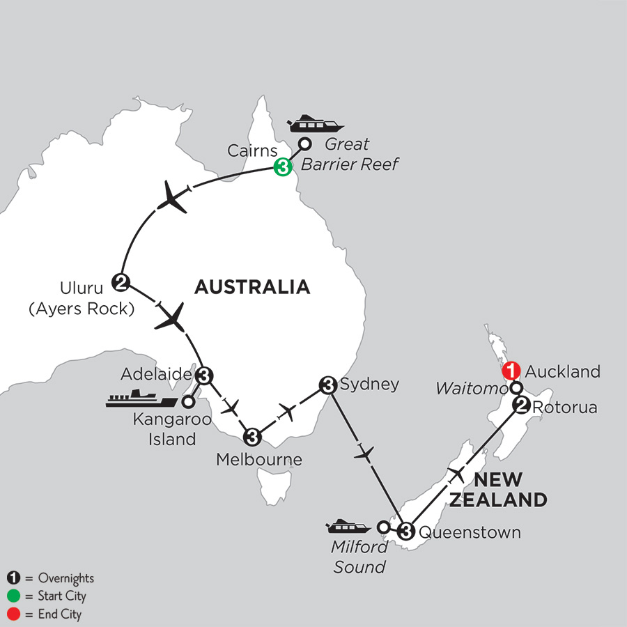Itinerary map of Aussie Adventure with Queenstown & Rotorua 2019 from Cairns to Auckland