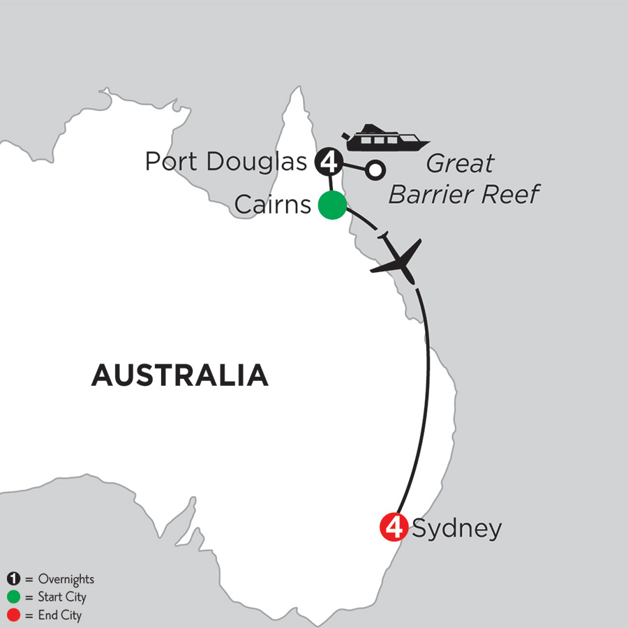 Itinerary map of Great Barrier Reef & Sydney 2019 from Port Douglas to Sydney