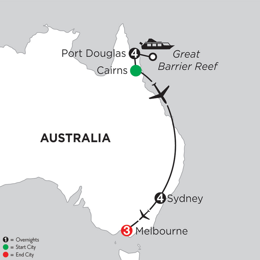 Itinerary map of Great Barrier Reef & Sydney with Melbourne 2019 from Port Douglas to Melbourne