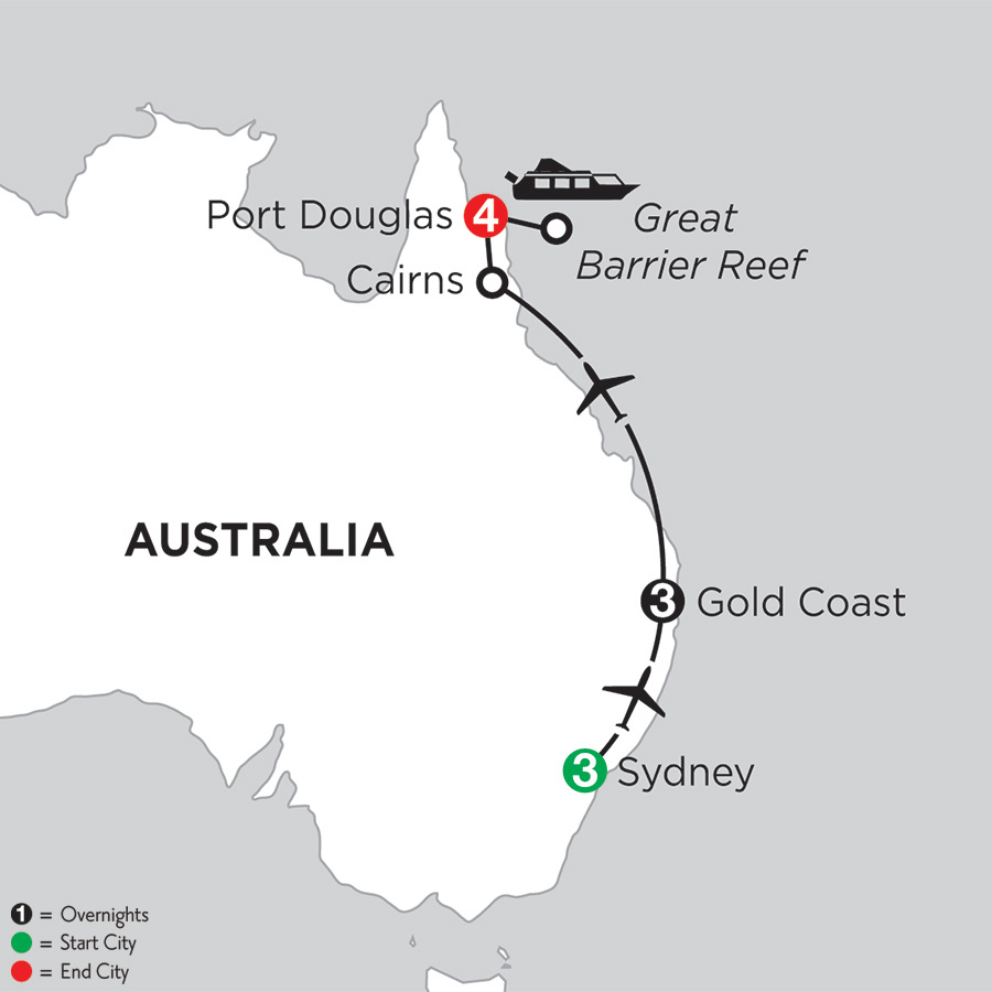 Itinerary map of Sun & Fun Down Under 2019 from Sydney to Port Douglas