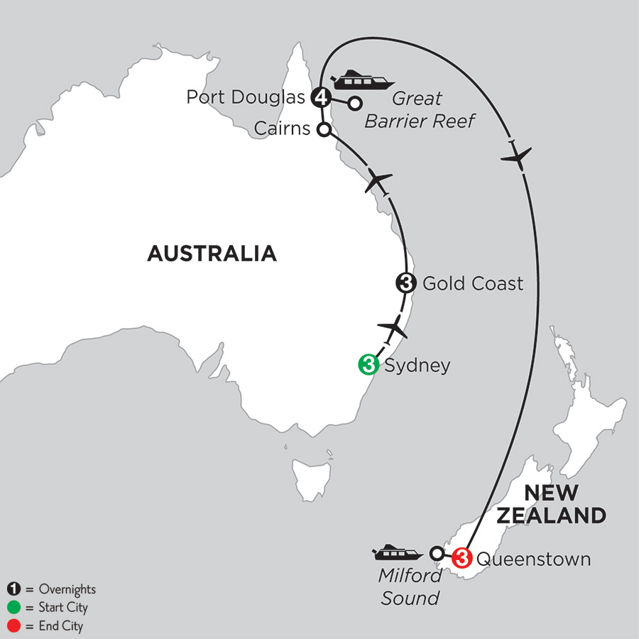 Itinerary map of Sun & Fun Down Under with Queenstown 2019 from Sydney to Queenstown